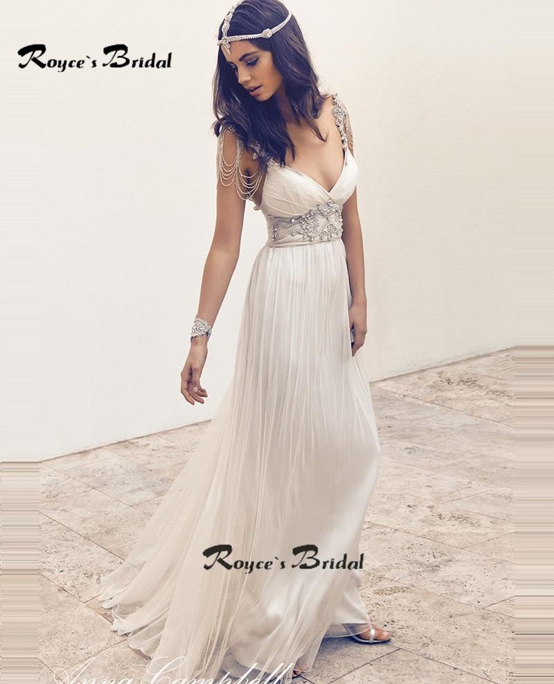 Stylish Bohemian Wedding Dress Bling Crystal Backless Bridal Gown ...