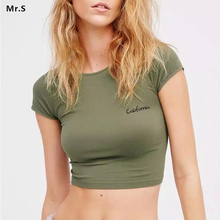 2018 California Girl Olive Gym Crop Top For Women Short Sleeves Dry Fit Sport Fitness Yoga Top Shirts Workout Clothes Activewear