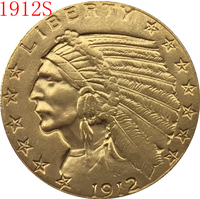 24-K gold plated 1912-S $5 GOLD Indian Half Eagle Coin Copy Free shipping