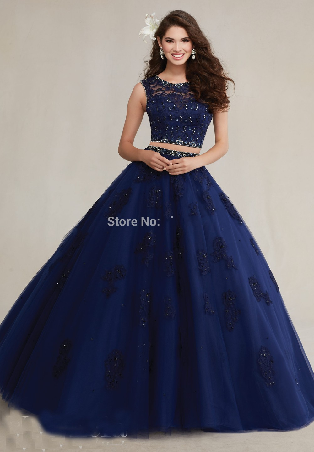 2016 High Neck Beaded Lace Appliques Prom Dress Navy Blue Sweet 16