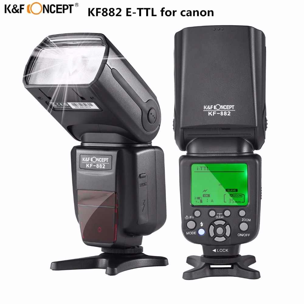 K&F Concept KF-882 Wireless LCD Screen Speedlight 1/8000s Master Slave With E-TTL Flash Speedlite For Canon 6d 700d 70d Camera колесные диски replica concept sk515 6 5x16 5x112 d57 1 et50 s