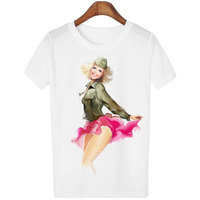 Harajuku 2016 Summer Sexy Cartoon Characters Print T Shirt Women T Shirt Short Sleeve O Neck