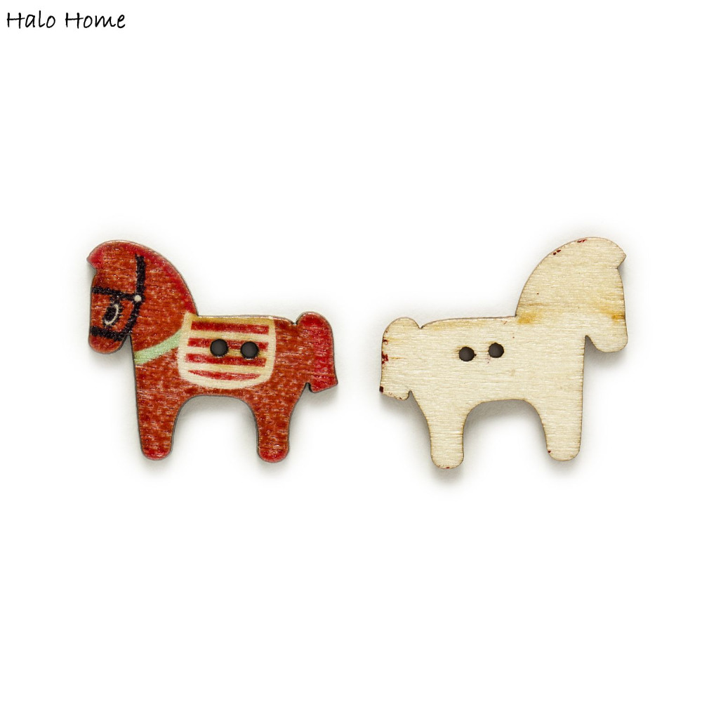 50Pcs New Dress Decoration Clothes Horse Sewing Wooden Buttons Scrapbooking