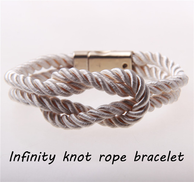 White Nautical Rope Bracelet For Women Handmade Infinit Knot Bridesmaid Men Gift