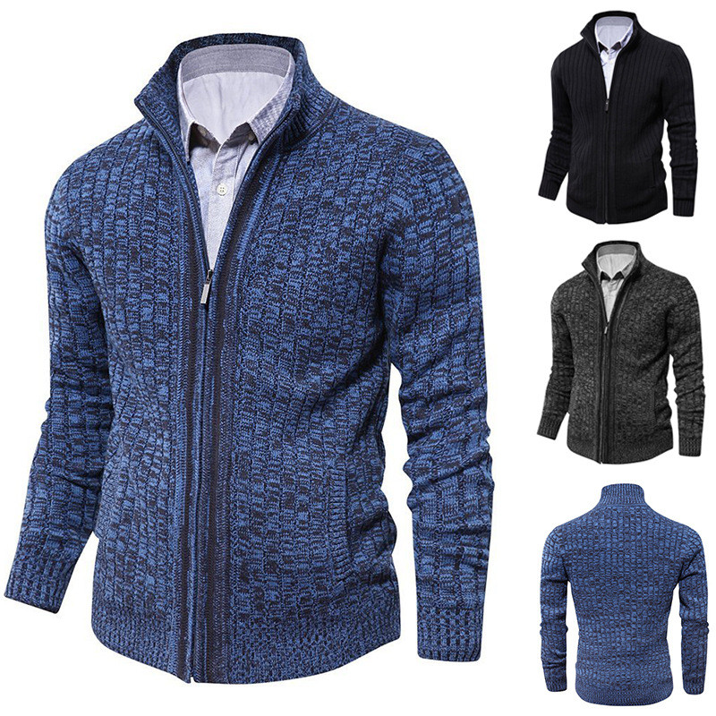 Knit Sweater Cardigan Coat Button Autumn Winter Mens Long-Sleeved New Warm And Lapel