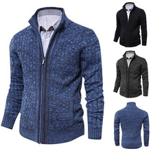 Men Cardigan Sweater 2019 Autumn And Winter New Mens Long-sleeved Sweater Lapel Cardigan Button Knit Sweater Coat Tide Warm button up zigzag pattern cable knit sweater