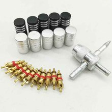 10pcsThe valve cap 10 pieces copper valve core with 4-in-1 tire valve stem removal tool tire repair tool valve core removal tool