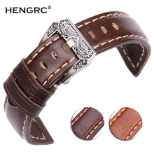 20mm 22mm 24mm Watchbands Handmade Vintage  Men Women Soft Genuine Leather Watch Strap With Silver Stainless Steel Buckles