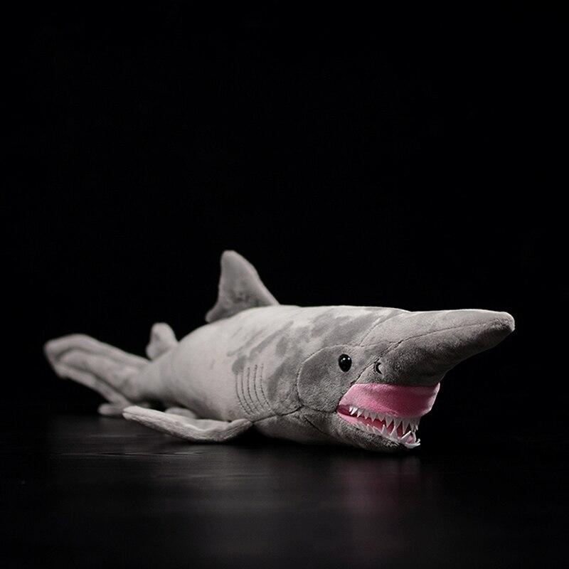 Simulation Grey Goblin Shark Doll Mitsukurinidae Owstoni Lifelike Large Sea Animal Soft Real Life Plush Toy Kids Gift Collection