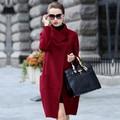 SoftFox Дизайн Бренда Зимнее Пальто Женщин Теплый Хлопок-проложенный Шерстяное Пальто Длинные женские Кашемировые Пальто Европейская Мода Куртка пиджаки