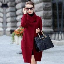 SoftFox Brand Design Winter Coat Women Warm Cotton-padded Wool Coat Long Women's Cashmere Coat European Fashion Jacket Outwear