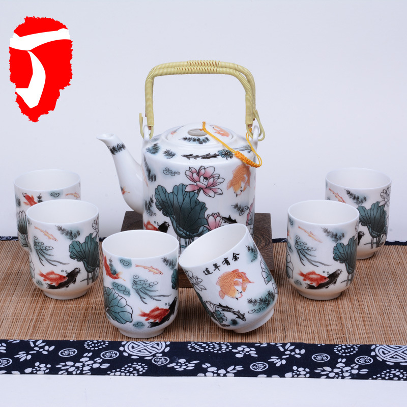 1POT + 6 tasses chinois Kung Fu thé ensemble Jingdezhen eau théière rétro bouilloire livraison gratuite