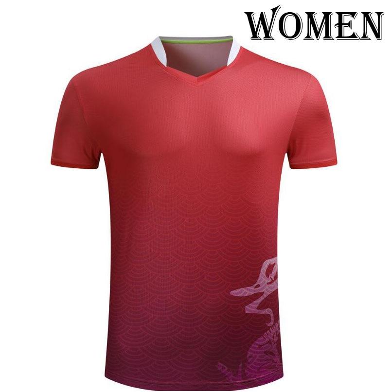 Женские/мужские спортивные футболки для бадминтона, теннисные футболки с короткими рукавами, футболки из полиэстера для настольного тенниса, одежда для пинг-понга, футболки из Джерси - Цвет: Women Red shirt