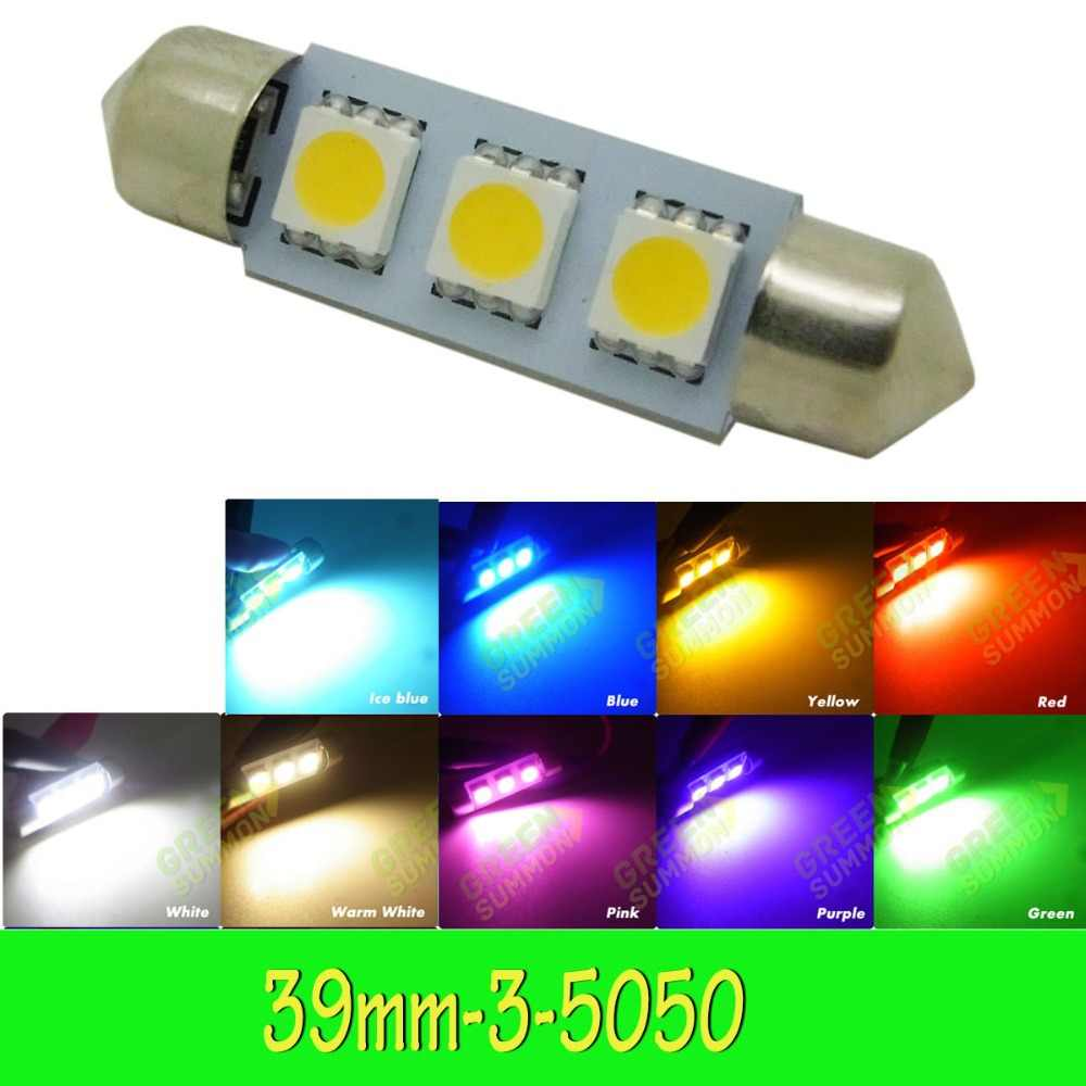 1PCS 39mm Dome 3 LED 5050 SMD Festoon Car Interior Bulb White DC 12V Brand New