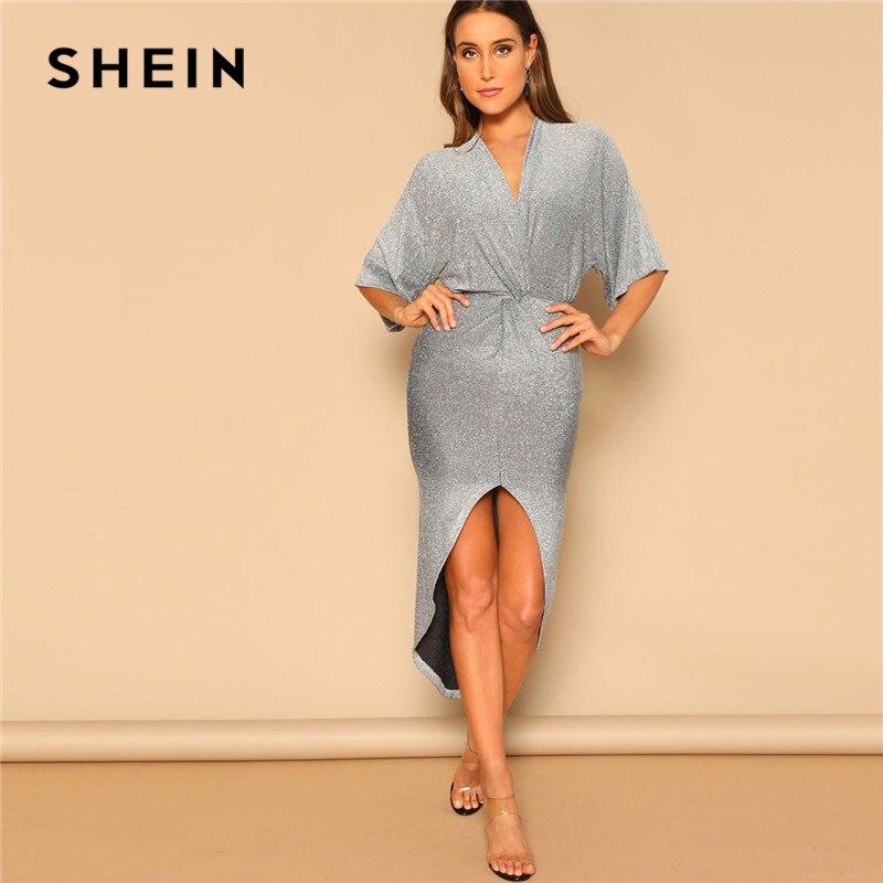 SHEIN серебряное элегантное однотонное платье с перекрещивающимися деталями, с глубоким подолом, блестящие вечерние платья, женские летние а...
