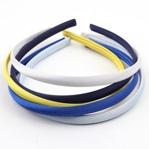 Image 4 - Mengna 60pc 20 cores 10mm meninas sólido cetim capa hairband crianças plain sólida meninas cetim headband diy