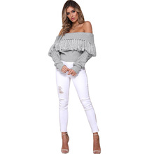 2019 hot style solid tassel short sweater woman spring autumn fashion pullover slash neck casual female