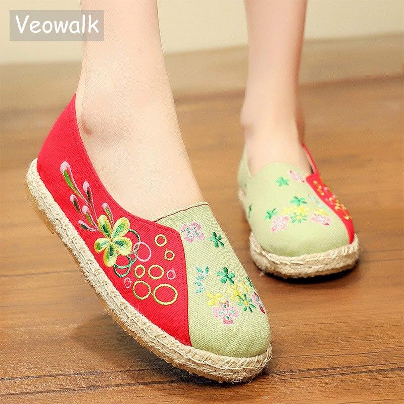 Veowalk Handmade Floral Embroidery Women Linen Cotton Espadrilles Flat Shoes Ladies Comfort Canvas Slip-on Loafers Hemp Bottoms stitching canvas embroidery flat shoes