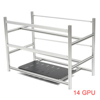 Open Air Mining Rig Stackable Frame Case Tower 10 LED Fans for 14 GPU ETH BTC Ethereum Computer Mining Frame Case Server Chassis
