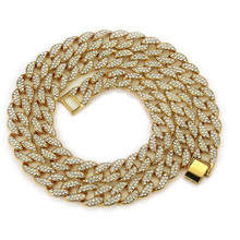 2019 1pc Hip Hop Miami Cuban Chain Necklaces Iced Out Paved Rhinestones CZ Bling Rapper Necklace For Men Jewelry Dropshipping цена