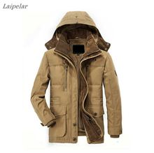 2018 Hot winter mens cotton jacket thick warm Plus velvet Long section casual hood men s coat Overcoat Windbreaker