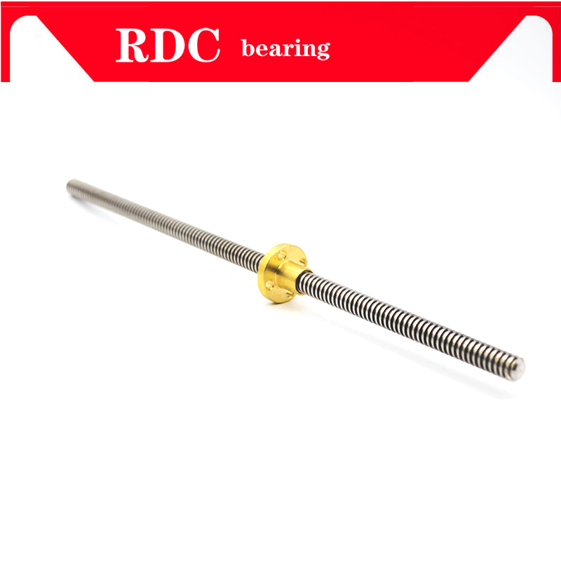 304 Stainless Steel T10 Screw Length 100 200 300 400 500 600 700 800 1000mm Lead 2 3 4 8 10 12 Trapezoidal Spindle Screw And Nut