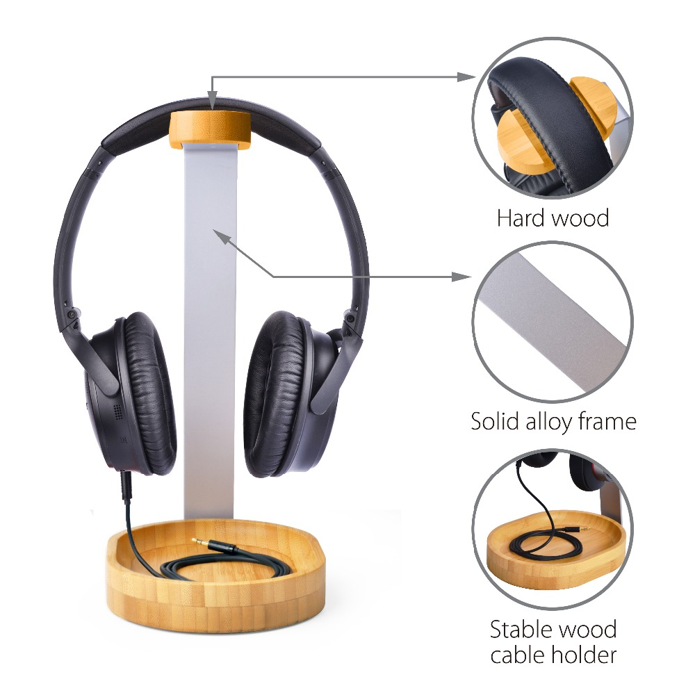 JBL Shure 2 Year Warranty Gaming Headset and Earphone Display Avantree Universal Wooden /& Aluminum Headphone Stand Hanger with Cable Holder for Sony Jabra Bose AKG