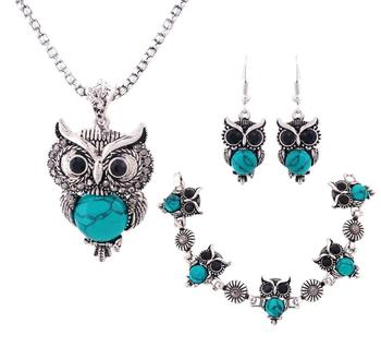 Women's Cute Owl Jewelry Set Jewelry Jewelry Sets Women Jewelry Metal Color: green