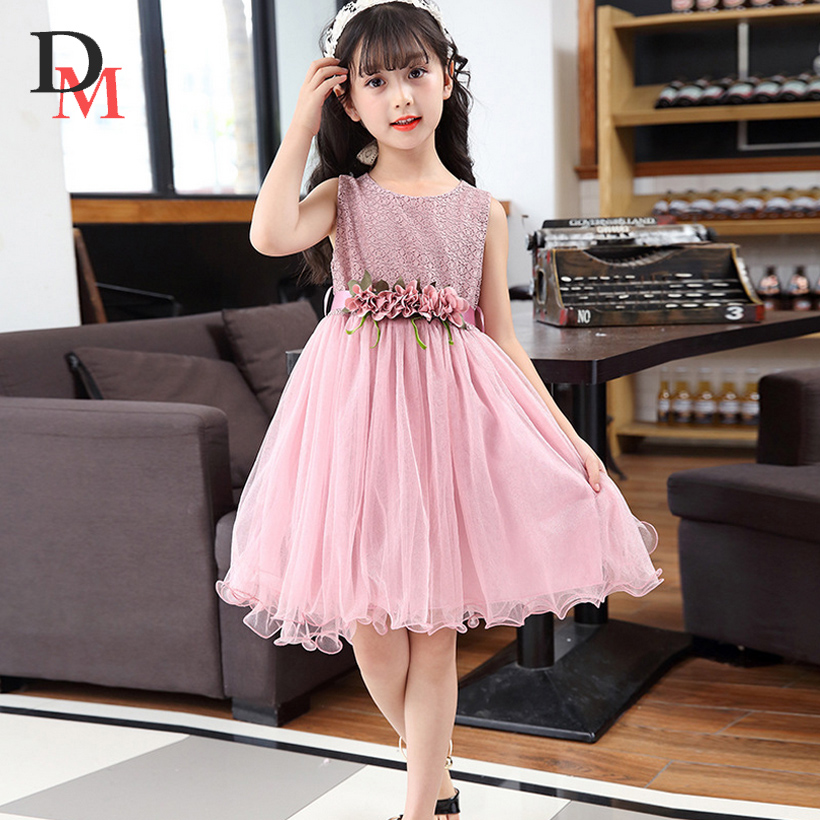 girls dresses flower party girl dress summer wedding princess toddler fashion kids clothes clothing birthday for 3~14 year PW009 girls dress summer 2017 ball gwon girl children clothing brand clothes solid kids for princess party wedding toddler dresses