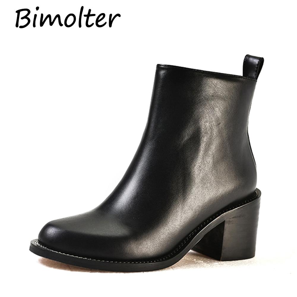 Chaussures Femelle Femmes Bimolter Travail Épais Véritable Cm Confortable De Talon Cuir Talons Doux Black Laeb024 En Vache Haut 6 Bottines 5 Twq4wp