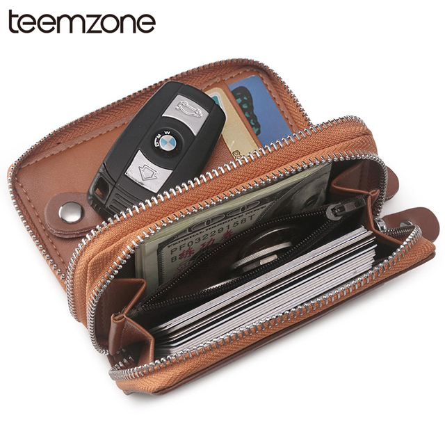Fashion Men Women s Genuine Double Zipper Braided Lines Soft Leather Car  Key Case Chains Holder 8 Key Rngs Coin Key Wallet Y377 853754d3d7
