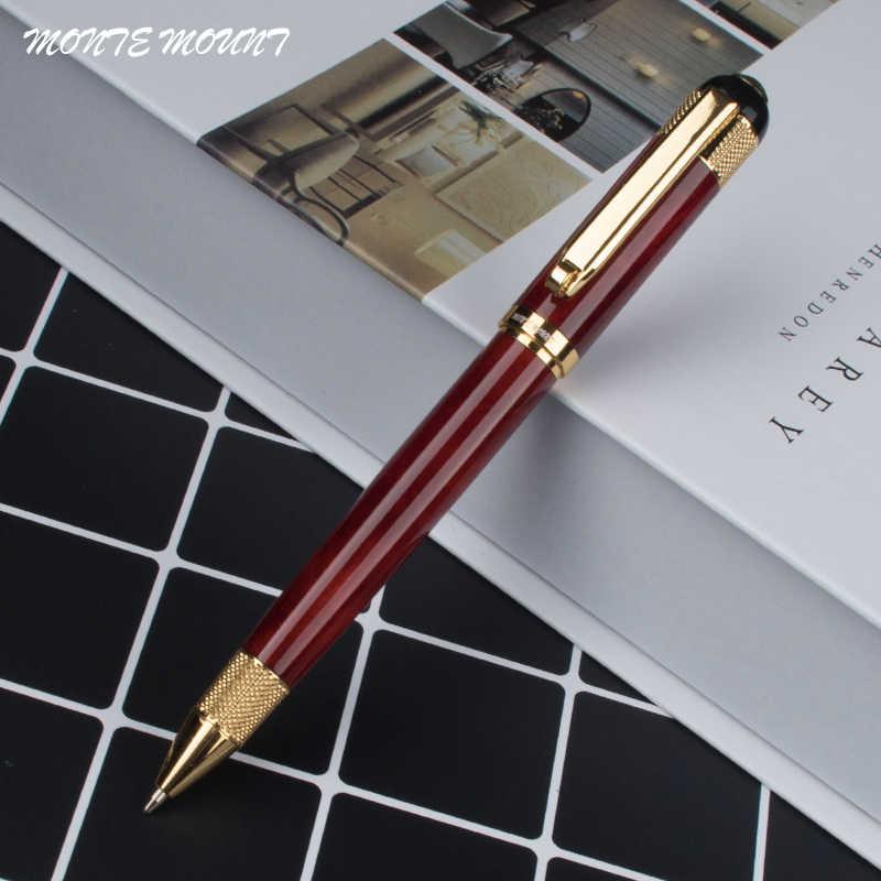 MONTE MOUNT Agaat rood Hoge Kwaliteit Briefpapier Gold Clip met Wiel en Gold Dot Gegraveerd Vat Luxe Balpen