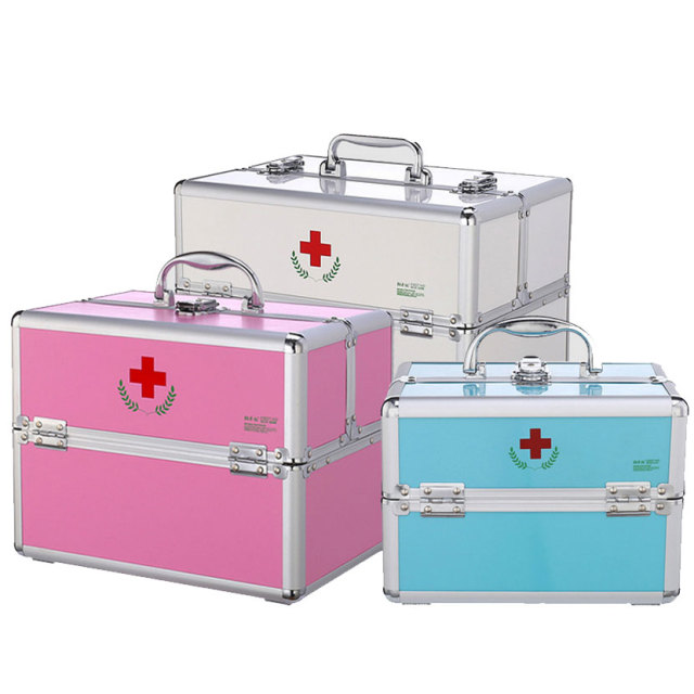Aluminum alloy double open medicine box family with a lock medicine box multi - storey first aid box cosmetics storage box