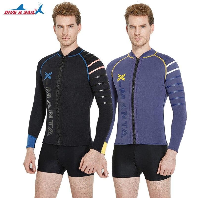 3e4f98e604 Dive Sail men s 3mm wetsuit jacket front zipper Long Sleeve Neoprene  Wetsuits Top FOR diving suit rash guard