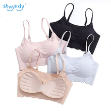 shwyhxly New Woman Modal Wireless Seamless and Removable 3D Foam Cup Push Up Shape Your Body With Laciness Bra 2 Pcs/ Pack