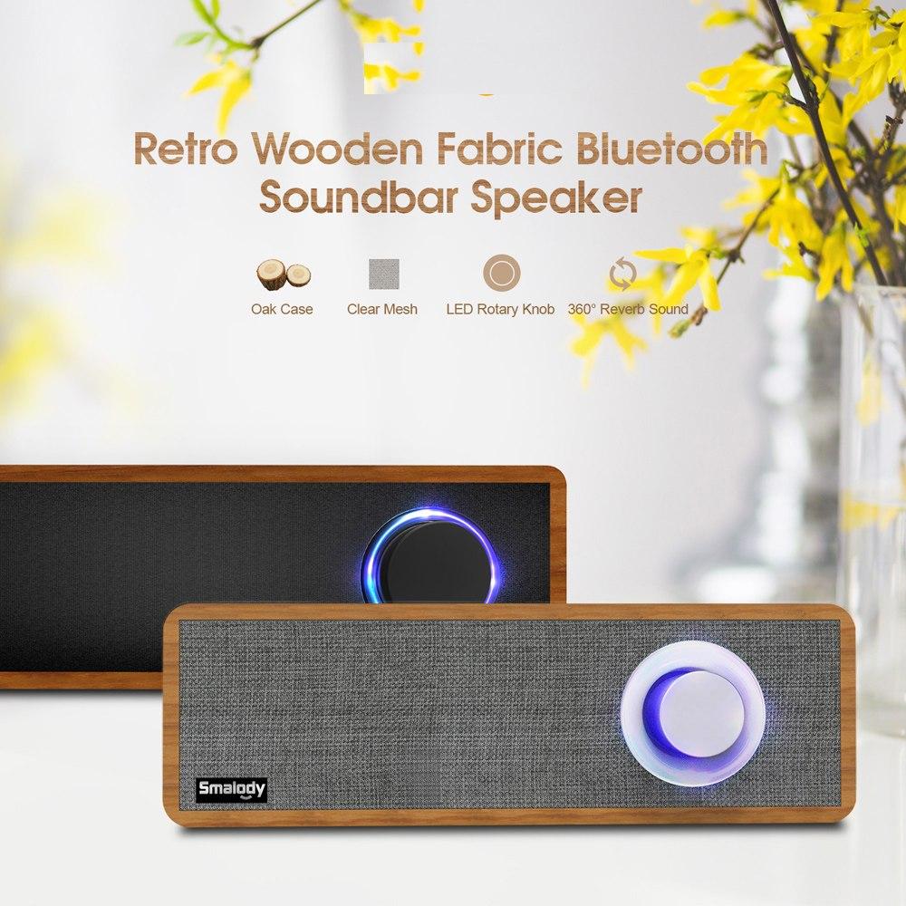 Hifi Smalody Portable en bois sans fil haut-parleur Bluetooth 4.2 PC haut-parleur 2.1 stéréo Mini Subwoofer barre de son MP3 musique haut-parleur