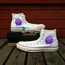 White Shoes Pokemon Converse Chuck Taylor Custom Venonat Design Hand Painted Shoes Men Women Sneakers Boys Girls Birthday Gifts
