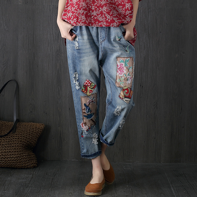 2017 New Arrival Summer Women Casual Vintage Patch Denim Pants Ripped Hole High Waist Loose High Waist Jeans F258 new summer vintage women ripped hole jeans high waist floral embroidery loose fashion ankle length women denim jeans harem pants