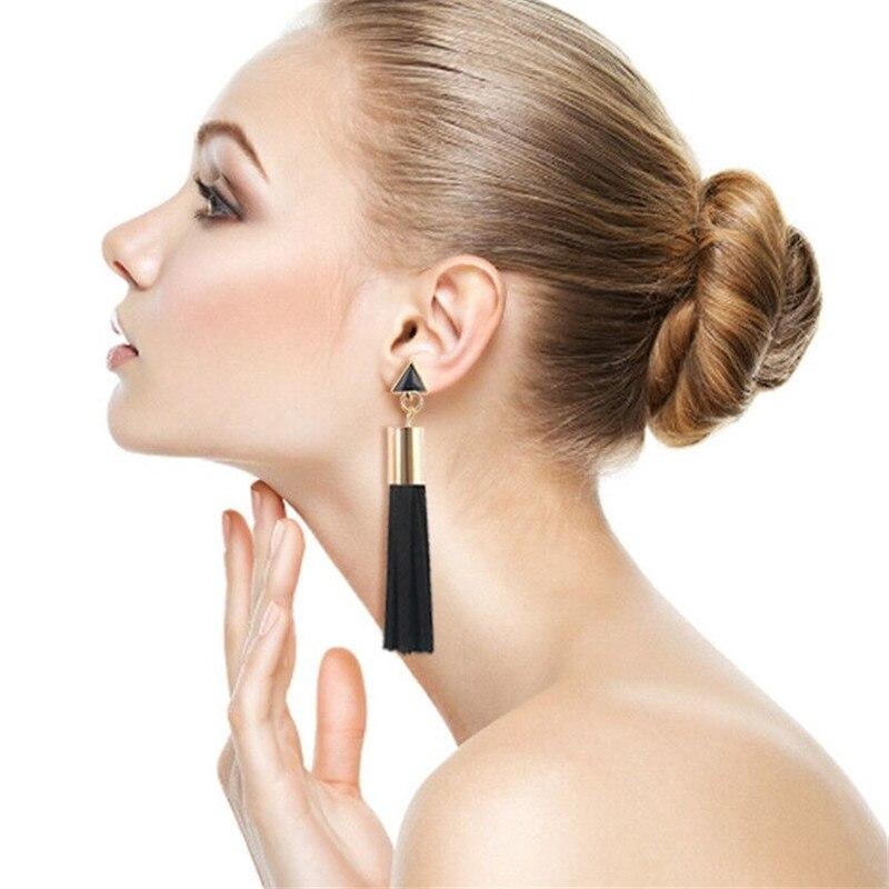 Hot Sale Bohemia Exaggerated Long Tassel drop Earrings metal triangle pendant Fringed Dangle earring Ethnic Women's Jewelry Gift