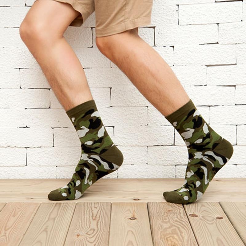 1 par efterår vinter termiske herre sokker bomuldstryk farverig camouflage kunstsokker til mænd Hiphop korte sjove ankelstrømper mænd