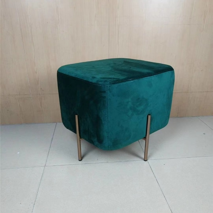 Minimalist Modern Living room Bedroom Sofa No arm Chair50*45*42CM Square Ottoman Stool 4Color Flocking Cloth Cover/free Shipping