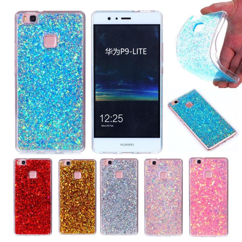 Huawei Lite G9 P9 VNS-L21 VNS-L22 VNS-L23 Caso Colorido Brilhante Glitter Gel de silicone TPU Macio de Volta Caso Capa para o Huawei P9 Mini