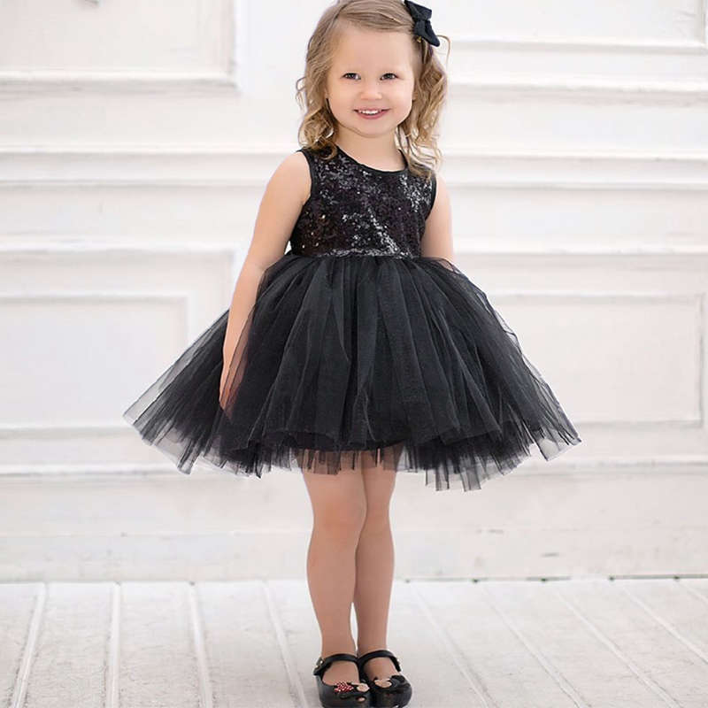 Baby Girls Princess Gauzy Dress Sleeveless Bubble Sequined Black Party Wedding Dress Newborn Girls Clothing Infant Tutu Dress ...