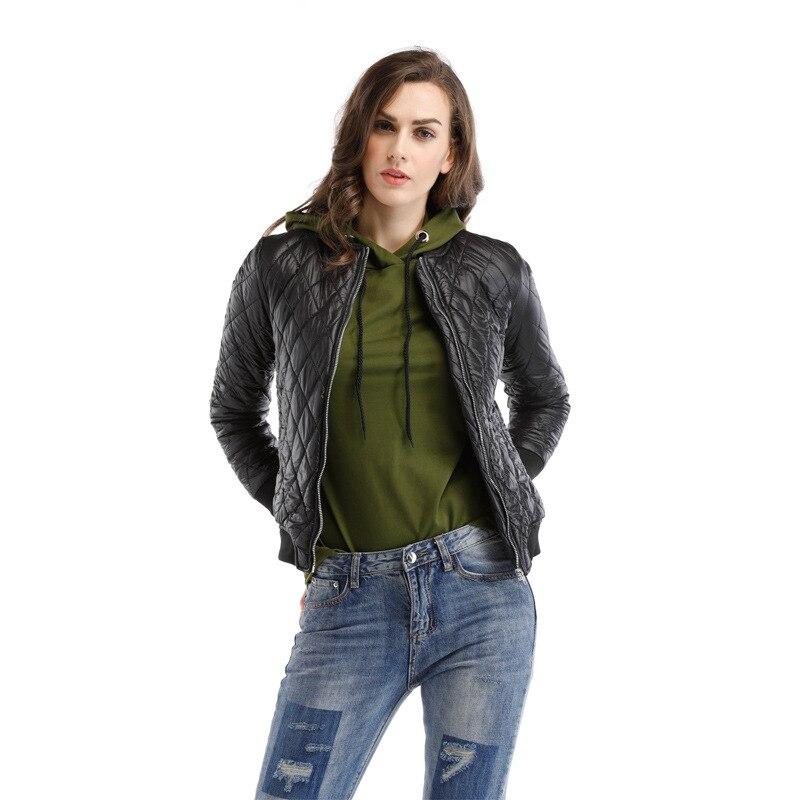 Women Black Warm Winter Bomber Jacket 2018 New Arrival Fashion Diamond Sutures Jacket Femme Zipper Slim Thin Coats