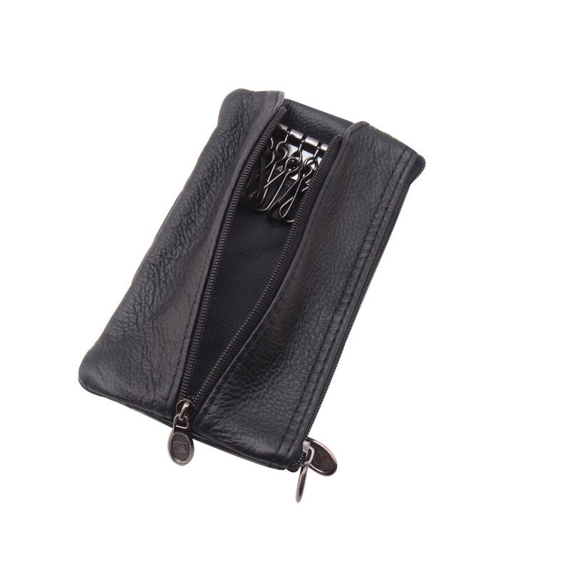 Genuine Leather Large Car Key Holder Vintage Men Checked Wallet Zipper Pouch Organizer Keychain Housekeeper Case Bag stylish straight leg checked print zipper fly shorts for men