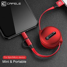 Cafele 2 in 1 Micro USB Cable for iPhone Mini Retractable Portable Charging 8 7 6 5 Xiaomi Redmi 4X
