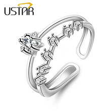 USTAR Double layer Star Crystal wedding Rings for women AAA Zircon finger midi rings female Jewelry Anel Opening adjustable size