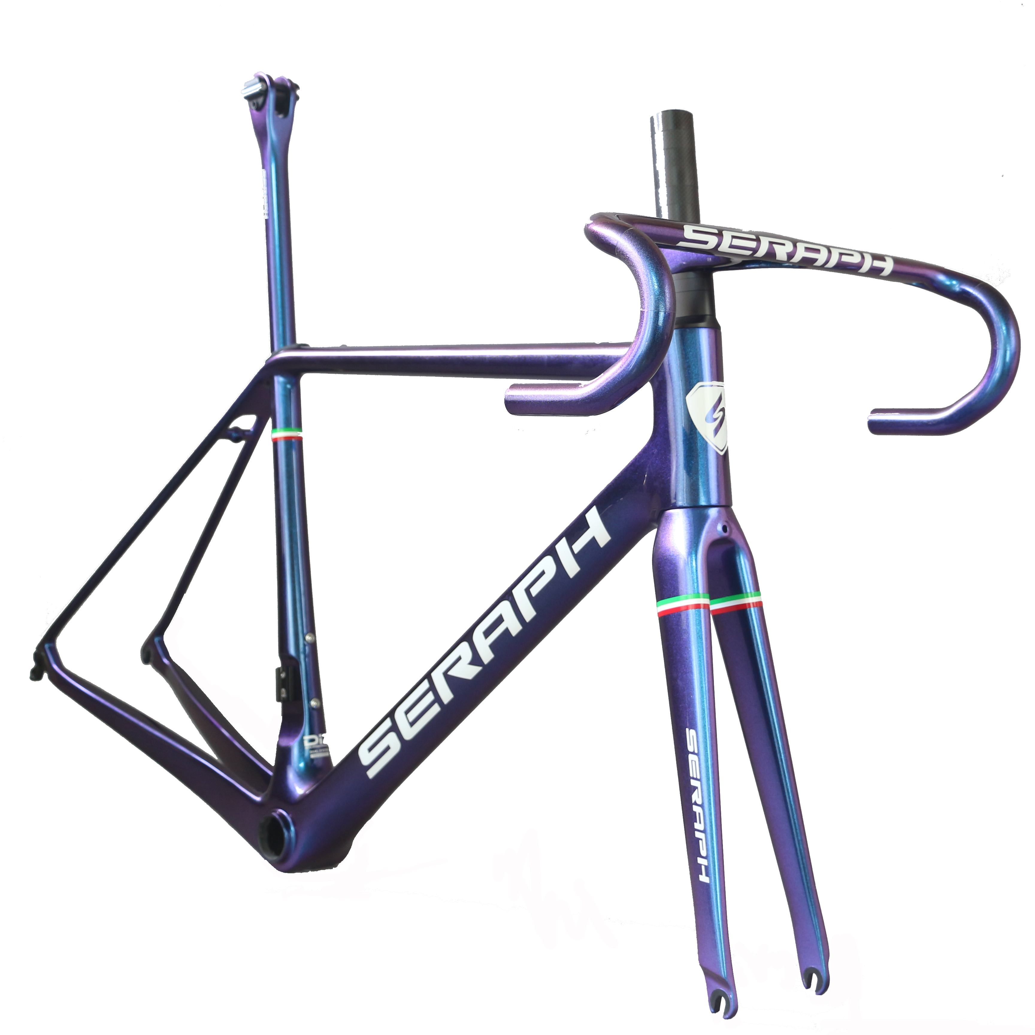 New Ultra Light Road Bike Frame FM629 Custom Chameleon Paint, Frame Di2 Compatible With Internal Cables