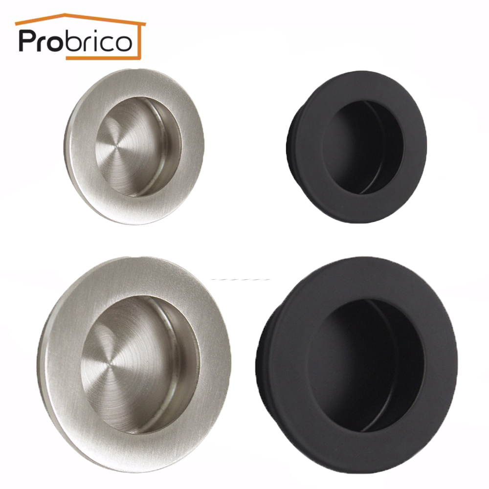 Probrico Round Recessed Sliding Door Handlle 304 Stainless Steel Black Diameter 50/65mm Kitchen Furniture Pull Cabinet Knob sliding door roller set 8pcs stainless steel and nylon castors hanging door wheels for furniture cabinet roulettes coulissant