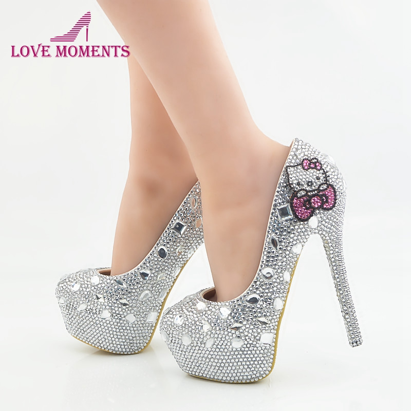 Hello Kitty Silver Rhinestone Bridal Wedding Shoes Graudation Party Prom High Heel Shoes Formal Dress Pumps Plus Size cinderella high heels crystal wedding shoes 14cm thin heel rhinestone bridal shoes round toe formal occasion prom shoes